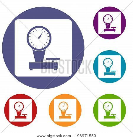 Weight scale icons set in flat circle red, blue and green color for web