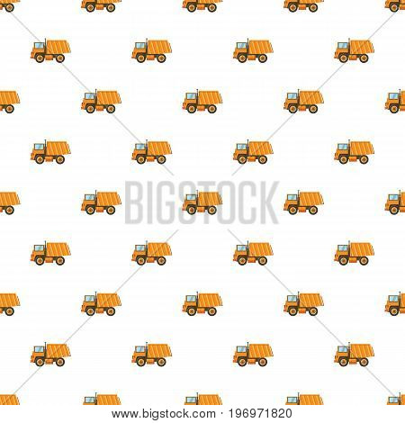Orange dump truck pattern seamless repeat in cartoon style vector illustration