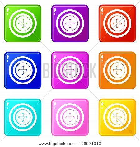 Sewing button with a thread icons of 9 color set isolated vector illustration