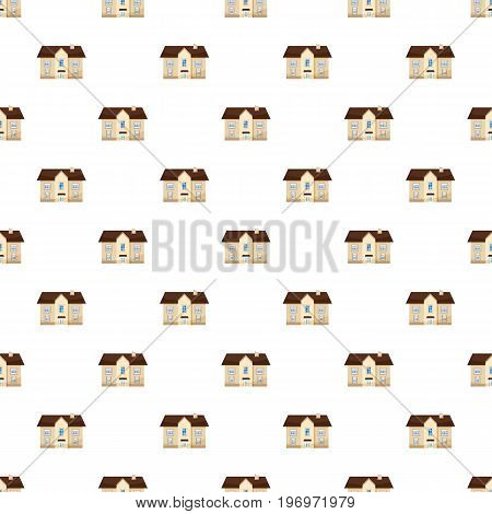Two storey house pattern seamless repeat in cartoon style vector illustration