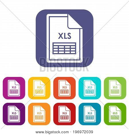 File XLS icons set vector illustration in flat style in colors red, blue, green, and other