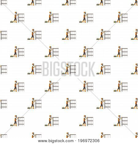 Industrial construction welder worker pattern seamless repeat in cartoon style vector illustration