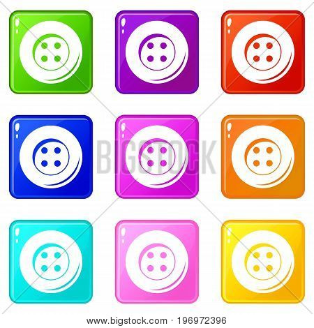 Button for sewing icons of 9 color set isolated vector illustration