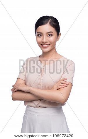 Beautiful asian architect student positive cheerful creative designer smiling