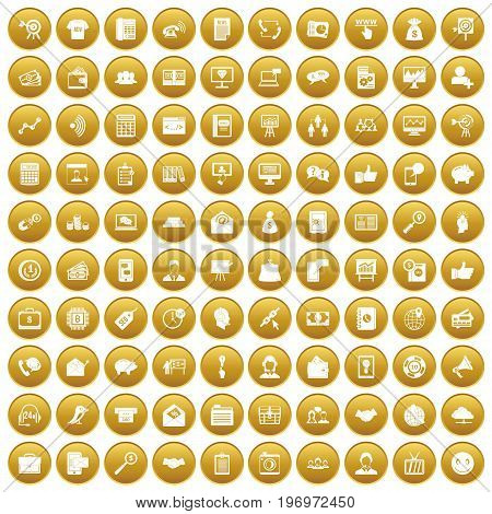 100 viral marketing icons set in gold circle isolated on white vector illustration