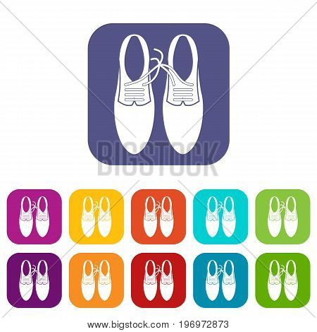 Tied laces on shoes joke icons set vector illustration in flat style in colors red, blue, green, and other