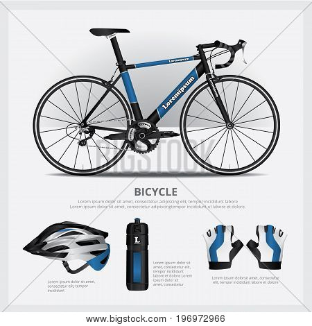 Sport Cycling Bicycle with Accessory Vector Illustration