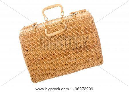 weaved basket case isolated on white background