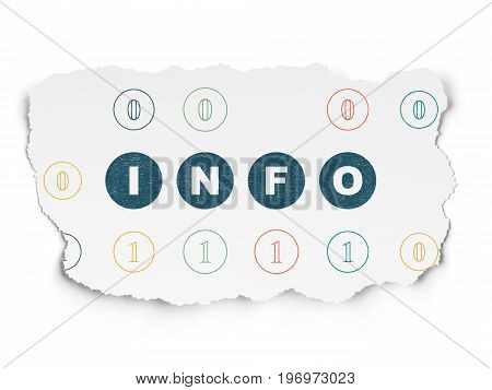 Data concept: Painted blue text Info on Torn Paper background with Scheme Of Binary Code