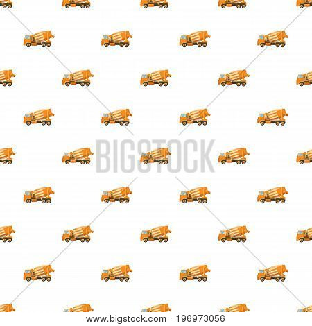 Orange truck concrete mixer pattern seamless repeat in cartoon style vector illustration