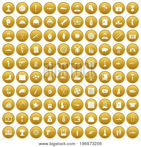 100 war crimes icons set in gold circle isolated on white vector illustration