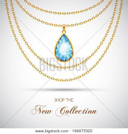 Golden chain necklace with diamond pendant. Vector Illustration