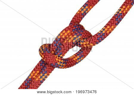 symbolic knot with red rope on white background