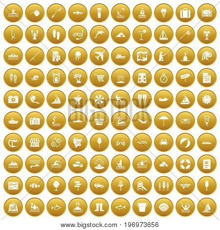 100 water recreation icons set in gold circle isolated on white vector illustration