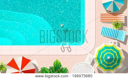 Vector illustration of pool with ball floating and deck chairs with umbrellas