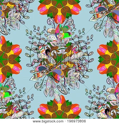 Vector - stock. Flowers with leaves and chamomile with cornflowers on colorful background. Seamless background pattern.