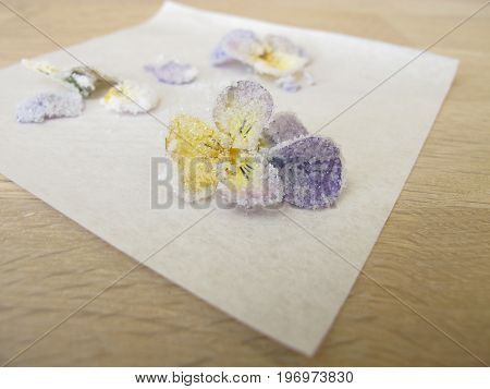 Homemade candied horned pansy, sweet edible flowers
