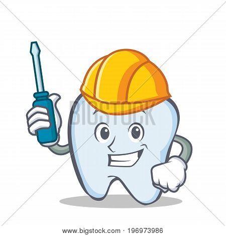 Automotive tooth character cartoon style vector illustration