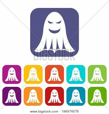 Ghost icons set vector illustration in flat style in colors red, blue, green, and other