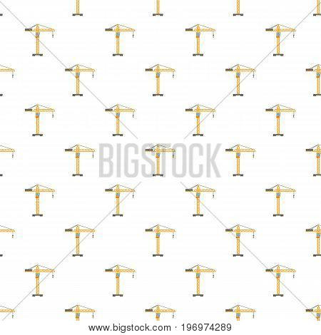 Orange hoisting crane pattern seamless repeat in cartoon style vector illustration