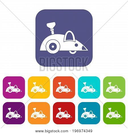 Clockwork mouse icons set vector illustration in flat style in colors red, blue, green, and other