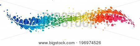 Multicolored futuristic rainbow on white background curve line with circles