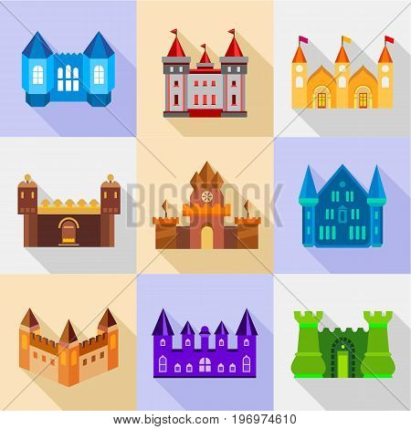 Types of stronghold icons set. Flat set of 9 types of stronghold vector icons for web with long shadow