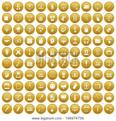 100 webdesign icons set in gold circle isolated on white vector illustration