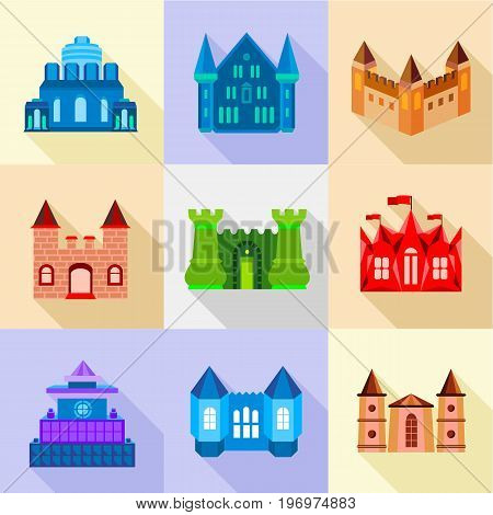 Bastion icons set. Flat set of 9 bastion vector icons for web with long shadow