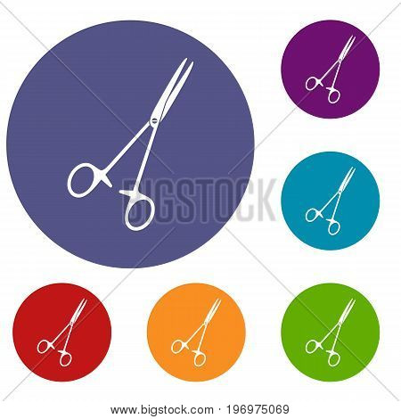 Medical clamp scissors icons set in flat circle red, blue and green color for web