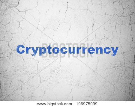 Currency concept: Blue Cryptocurrency on textured concrete wall background