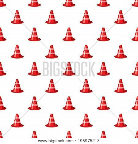 Traffic cone pattern seamless repeat in cartoon style vector illustration