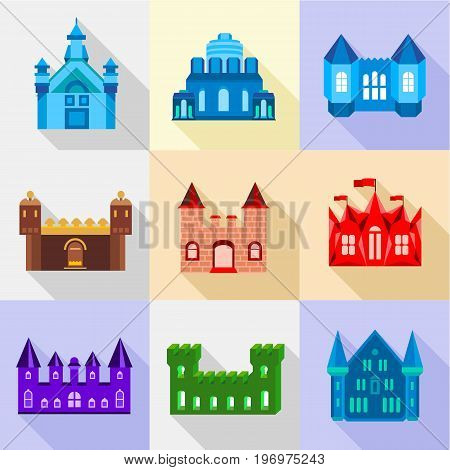 Citadel icons set. Flat set of 9 citadel vector icons for web with long shadow