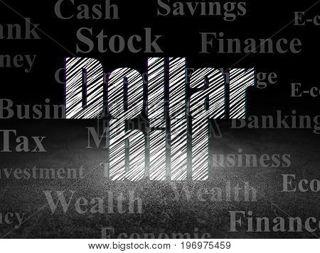 Money concept: Glowing text Dollar Bill in grunge dark room with Dirty Floor, black background with  Tag Cloud