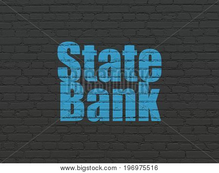 Banking concept: Painted blue text State Bank on Black Brick wall background
