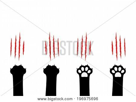 Cat claw scratching set. Black paw print leg foot. Bloody claws animal red scratch scrape track. Cute cartoon character body part silhouette. Baby pet collection Flat Isolated White background. Vector