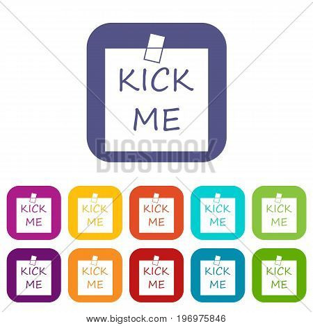 Inscription kick me icons set vector illustration in flat style in colors red, blue, green, and other