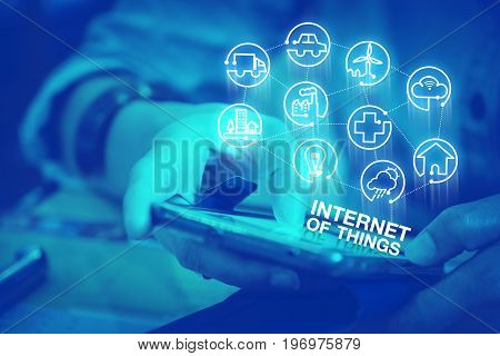 Close Up Woman Using Mobile Phone With Internet Of Things (iot)  Icon Features, Digital Lifestyle Co