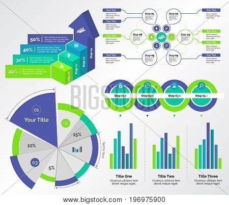 Infographic design set can be used for workflow layout, diagram, annual report, presentation, web design. Business and management concept with process, bar and pie charts.