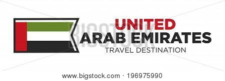 Vector illustration of United Arab Emirates flag with travel destination words.