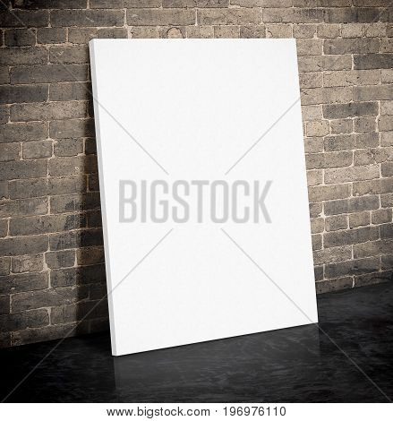 Blank White Paper Poster On The Grunge Brick Wall And Black Cement Floor,mock Up To Display Or Monta