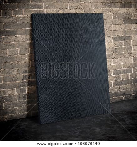 Blank Black Fabric Poster On The Grunge Brick Wall And Black Cement Floor,mock Up To Display Or Mont