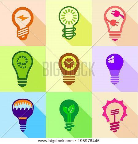 Stylized light bulb icons set. Flat set of 9 stylized light bulb vector icons for web with long shadow
