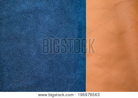 Close Up Navy Blue And Tan Leather Divide Two Section, Texture Background,fabrics Division