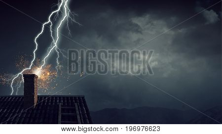 Dramatic weather background. Mixed media