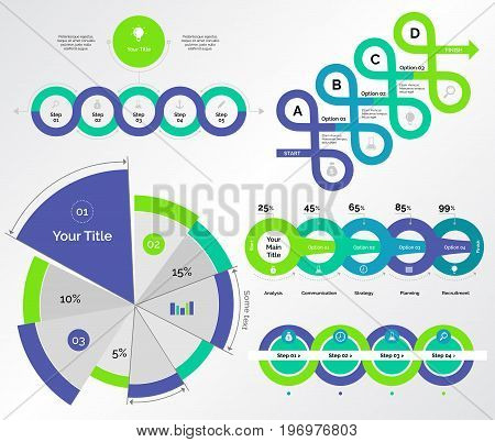 Infographic design set can be used for workflow layout, diagram, annual report, presentation, web design. Business and consulting concept with process, pie and percentage charts.