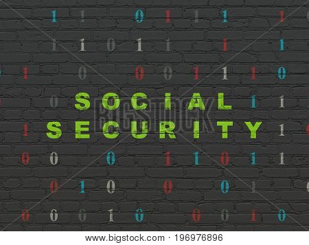 Privacy concept: Painted green text Social Security on Black Brick wall background with Binary Code
