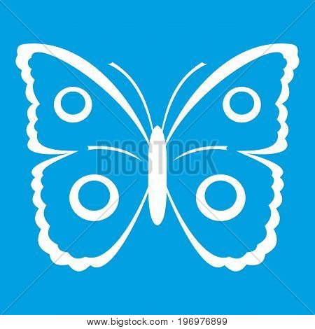 Butterfly peacock eye icon white isolated on blue background vector illustration