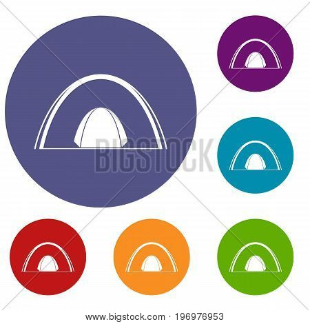Camping dome tent icons set in flat circle red, blue and green color for web