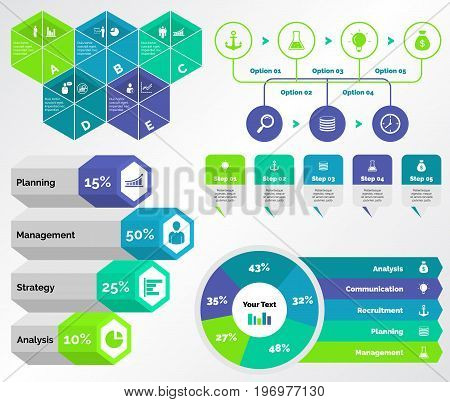 Infographic design set can be used for workflow layout, diagram, annual report, presentation, web design. Business and economics concept with process, doughnut and percentage charts.